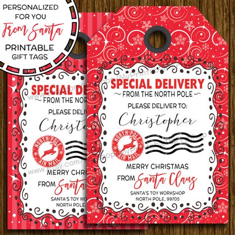 free printable gift tags signed by santa items similar to printable christmas gift tags from santa