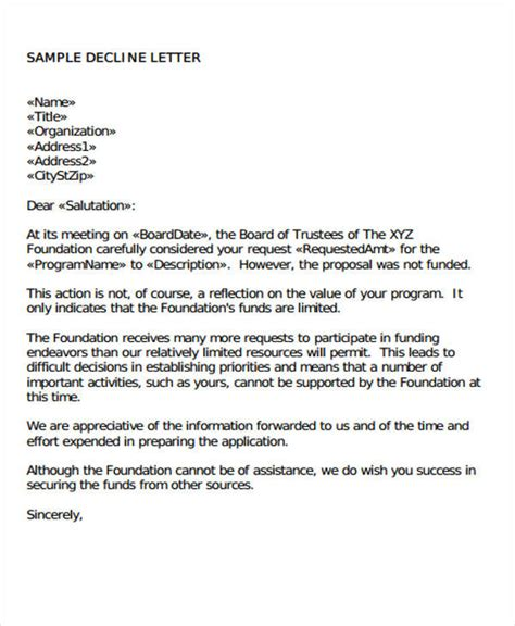 Decline Letter To Client Investor Rejection Letter Sles Formal Bid Rejection 10