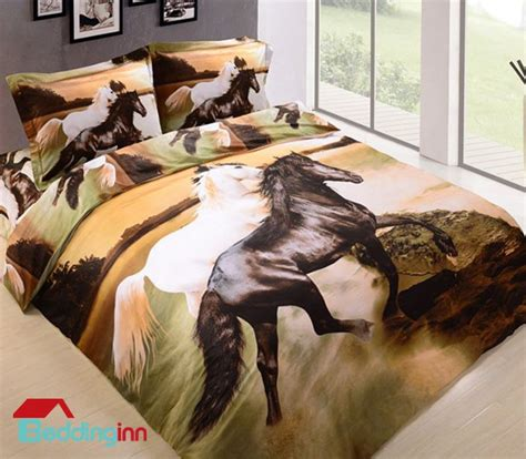 horse bedroom 3d white and black horses print 4 piece bedding sets