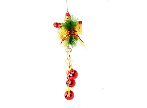 star and bell ornament christmas tree hanger red w01267