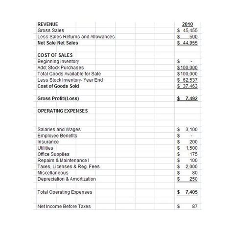 free downloadable excel pro forma income statement for