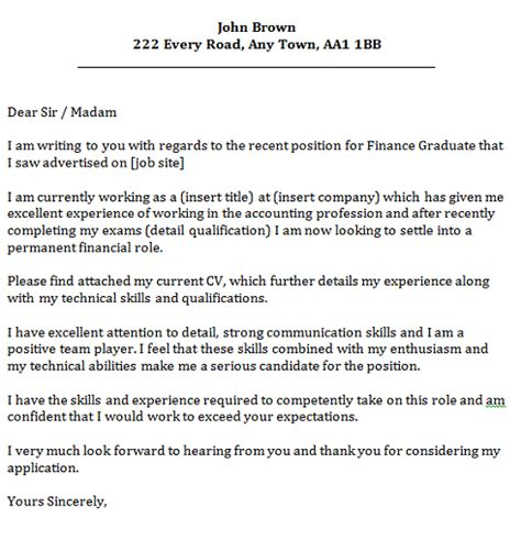 cover letter for graduate finance graduate cover letter cover letters and cv exles