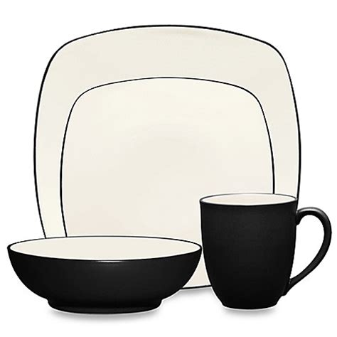 noritake colorwave graphite buy noritake 174 colorwave square 4 place setting in graphite from bed bath beyond