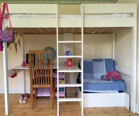Furniture White Wood Bunk Bed With Pink Desk And Shelves White Bunk Bed With Desk Underneath