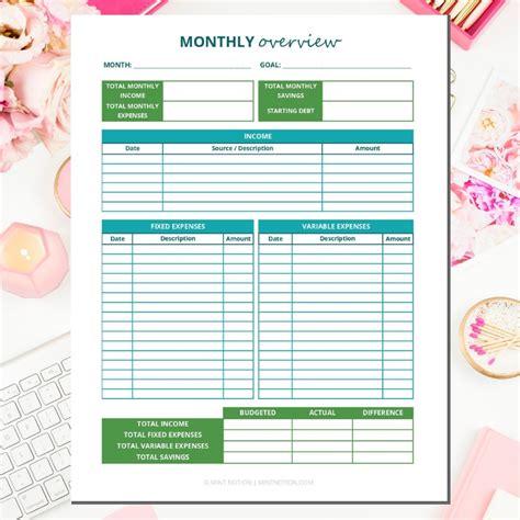 budget binder printables mint notion