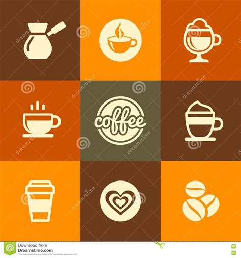 coffee shop flat design coffee icons set in flat design color style stock vector
