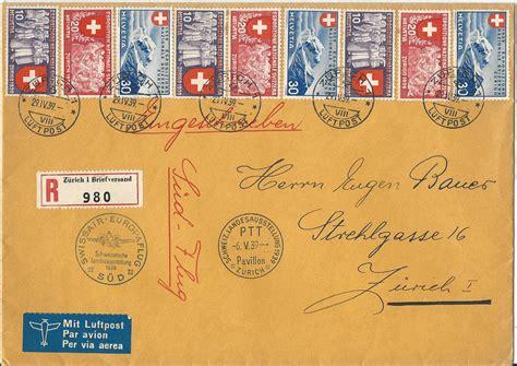 Brief Frankatur Schweiz Schweiz 1939 Gute Frankatur Auf Einschreiben Brief Europa Flug S 252 D 183 Heiner Zinoni