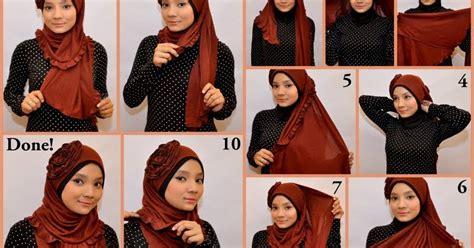 tutorial jilbab pashmina kaos untuk pesta cara memakai jilbab pashmina kaos modern glitter