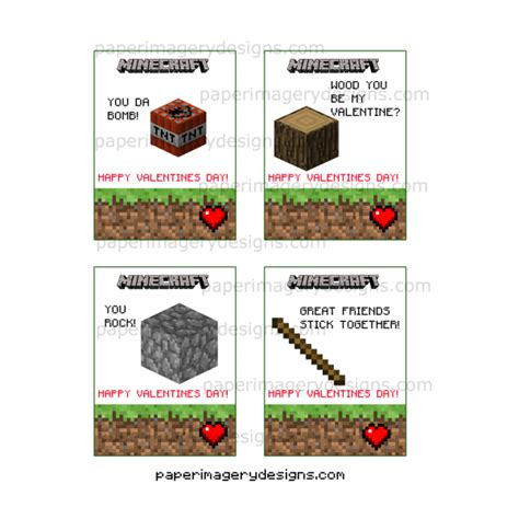 Minecraft Valentine S Day Cards - minecraft valentines day cards 2 for 5 00 valentines day cards