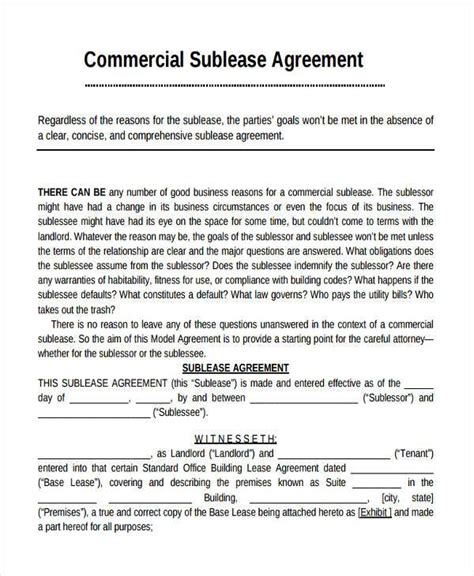 commercial sublease agreement template 28 commercial sublease agreement template