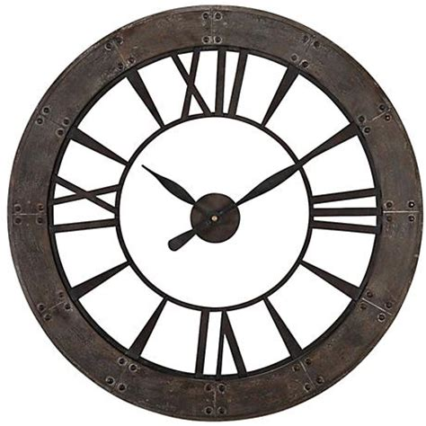 ronan dark rustic bronze large wall clock 06084 uttermost ronan dark bronze 40 quot round wall clock 7m071