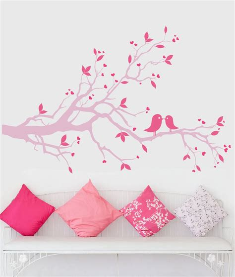 pink wall stickers pink tree branch wall decal pink lovebirds wall pink wall silhouette decals 69 00 via