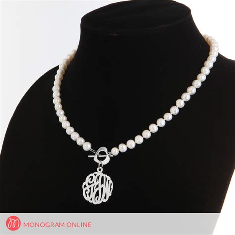 pearl necklace with silver monogram pendant monogram