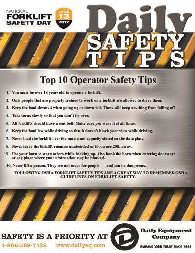 10 Safety Tips To Follow by Top 10 Operator Safety Tips Daily Equipment Company