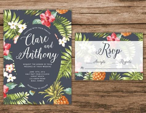 luau wedding invitations hawaiian wedding invitation tropical wedding invitation