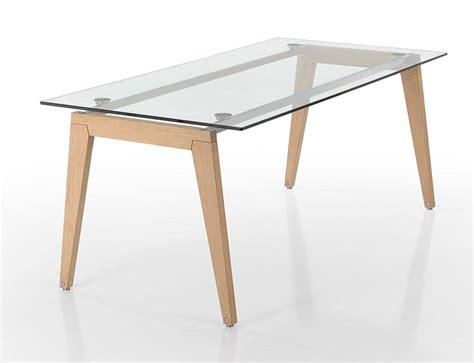 tavoli vetro design tavolo rettangolare con gambe in legno e piano in vetro
