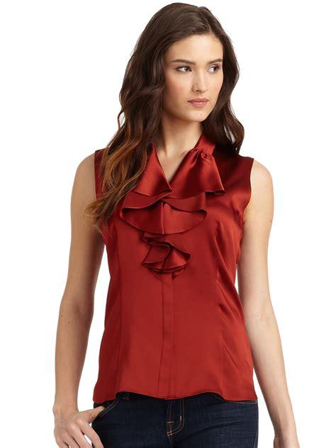 Dmj New York Blouse lafayette 148 new york briella ruffled satin blouse in lyst