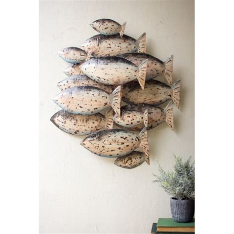 fish wall decorations painted recycled metal school of fish wall decor