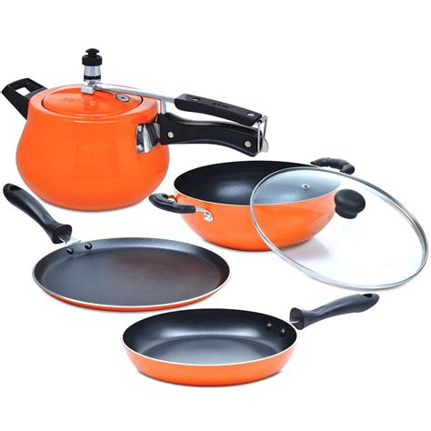 5 Pcs Non Stick Cookware Set buy 5 pcs induction based non stick cookware set at best price in india on naaptol