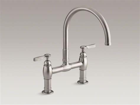 deck mount kitchen faucet kohler 174 parq 174 two deck mount bridge kitchen sink faucet domain industries inc