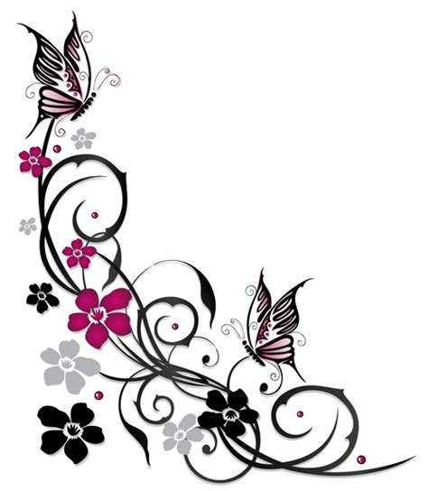 ornament floral with butterflies vectors material 03