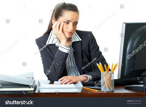 Office Worker At Desk Bored Office Worker Sits Stock Photo 73693036