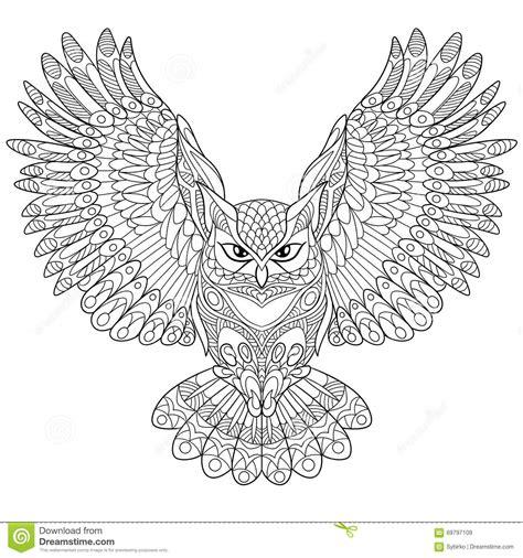 eagle mandala coloring pages zentangle stylized eagle owl stock vector image 69797109