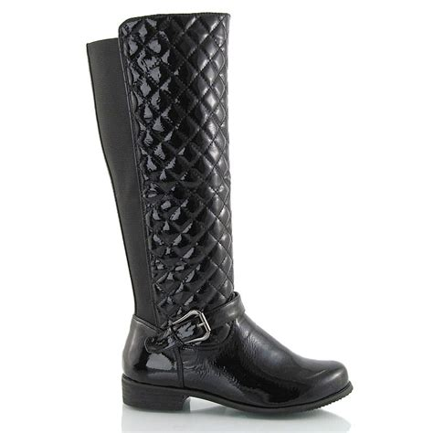 Wide Calf Quilted Boots by Womens Flat Low Heel Quilted Stretch Wide Calf Knee High Boots 3 8