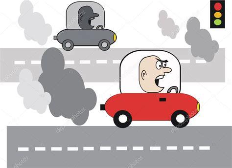 kizgin motosiklet egzoz dumani karayolu ile karikatuer