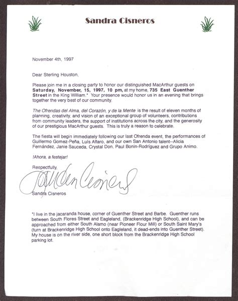 Letter Closing Respectfully Submitted Letter From Cisneros To Sterling Houston November 4 1997 Page 1 Of 4 The Portal
