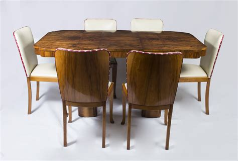 Antique Art Deco Walnut Dining Table 6 Chairs C 1930 Walnut Dining Table And 6 Chairs