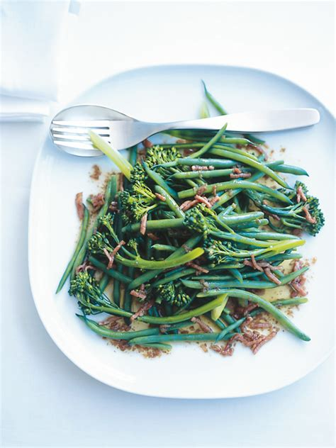 Green Bean Ejmi 60ml green beans and broccolini with bacon balsamic dressing donna hay