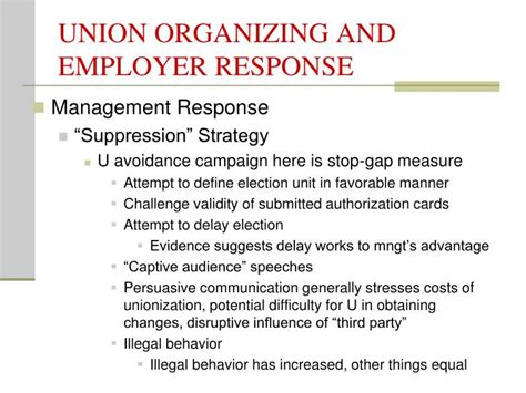 ppt union organizing and employer response powerpoint