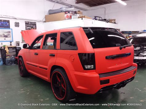 matte jeep cherokee jeep grand cherokee srt8 wrapped in matte red 3m by dbx