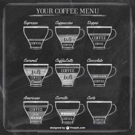 coffee shop menu template free coffee menu on blackboard vector free