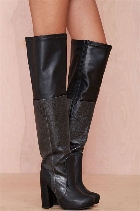 gal elvira leather thigh high boot in black lyst