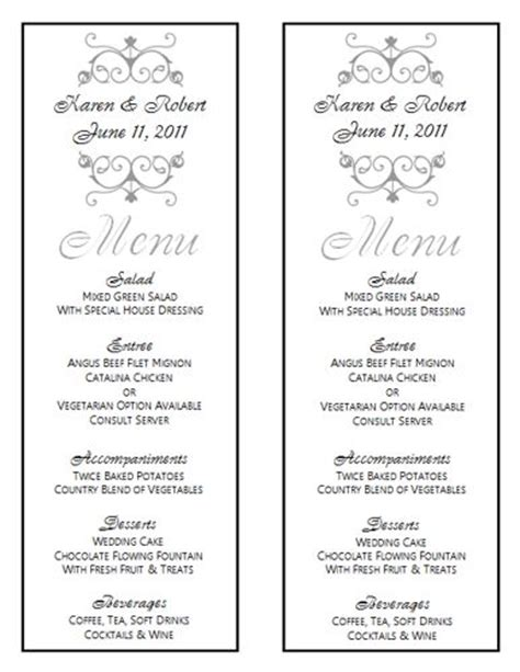 Wedding Menu Template 8 Wedding Menu Templates Wedding Menu Size Template