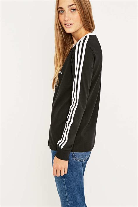 S S T Shirt With Stripe adidas three stripe sleeve black t shirt in black lyst