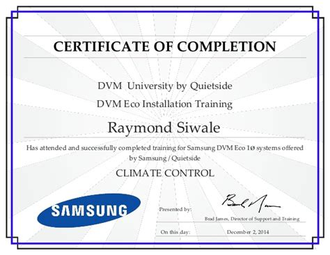 certificate of installation template raymond siwale dvm eco installation