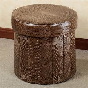 Faux Leather Ottoman Almas Animal Print Faux Leather Folding Storage Ottoman