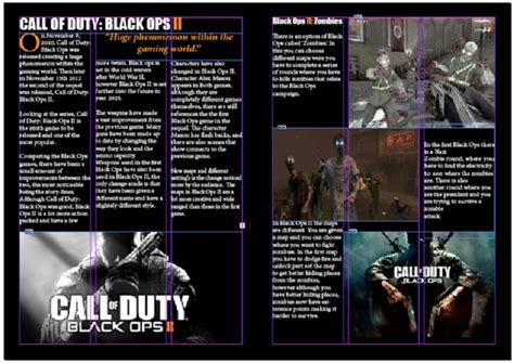 game design articles gaming magazine double page spread black ops ii game review