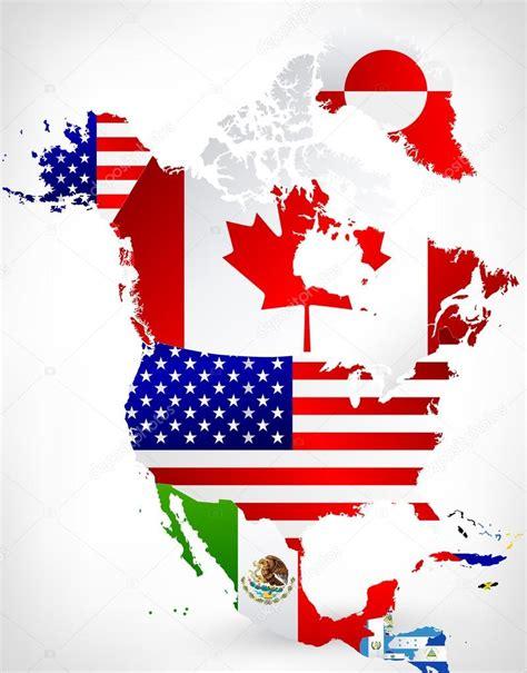 north america map with flags 北美洲地图与标志 2 图库矢量图像 169 livenart 87784756