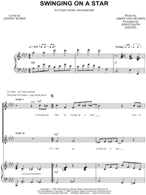 song swing on a star download digital sheet music of james bourne for piano