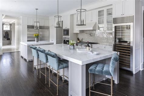 Grey Stools For Kitchen Island by Gray Kitchen Island With Blue Velvet Tufted Counter Stools