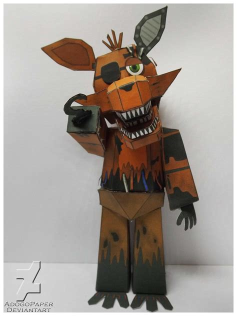 freddys foxy 2 nights at five five nights at freddy s 2 old foxy papercraft by