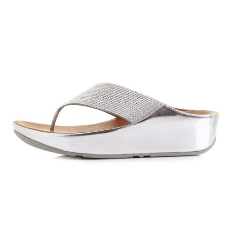 womens wedge slippers womens fitflop crystall silver glitter comfort wedge flip