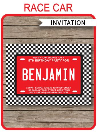 race car party invitations template birthday party