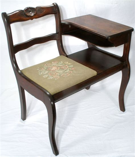 Antique Phone Chair by Vintage Frankson Mahogany Wood Telephone Phone Table