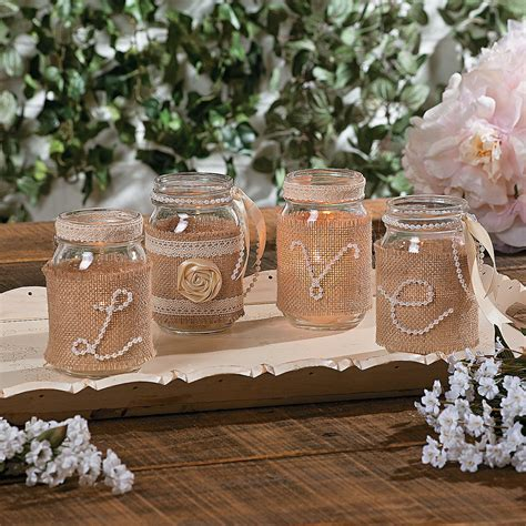 DIY wedding centerpieces, using pearls, burlap, ribbon and