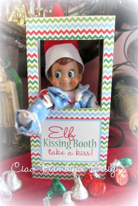 free printable elf on the shelf photo booth instant download printable elf kissing booth you by